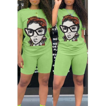 Lovely Casual Printed Light Green Two-piece Shorts Set