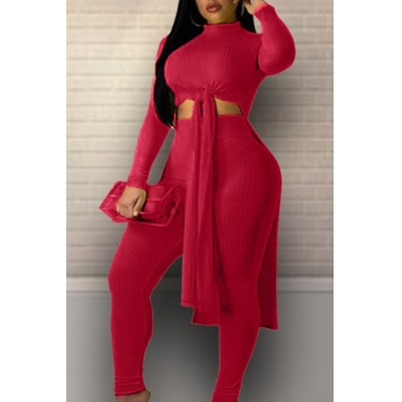 Lovely Leisure Turtleneck Knot Design Wine Red Two-piece Pants Set