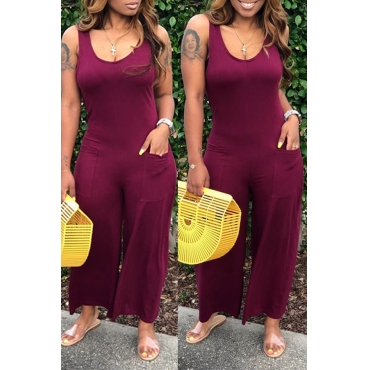 Lovely Lovelywholesale Casual Pocket Patched Wine Red One-piece Jumpsuit
