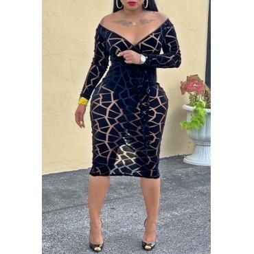 Lovely Sexy V Neck Printed Black Knee Length Dress
