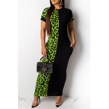 Lovely Casual Leopard Printed Patchwork Green Ankle Length Dress