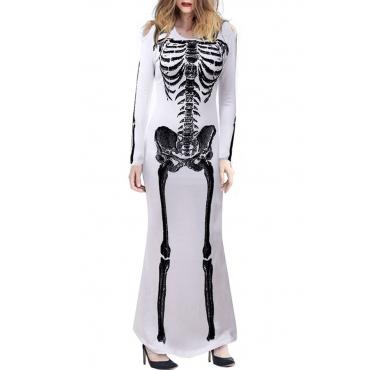 Lovely Trendy Skull Printed White Ankle Length Dress