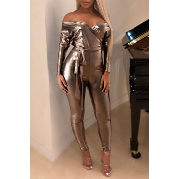 Lovely Sexy Dew Shoulder Champagne One-piece Jumpsuit