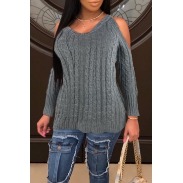 Lovely Leisure Hollow-out Grey Sweaters