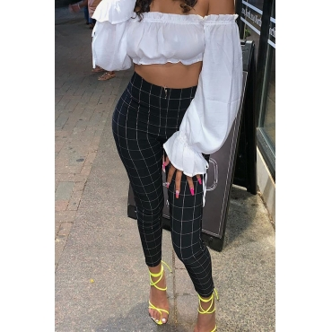 Lovely Casual Plaid Printed Black Pants