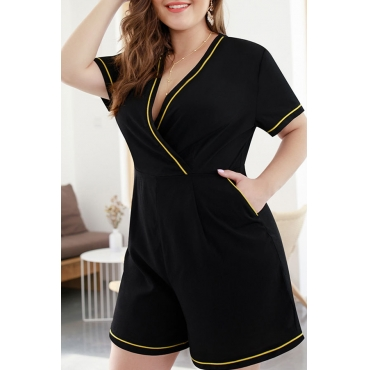 Lovely Casual V Neck Black Plus Size One-piece Romper
