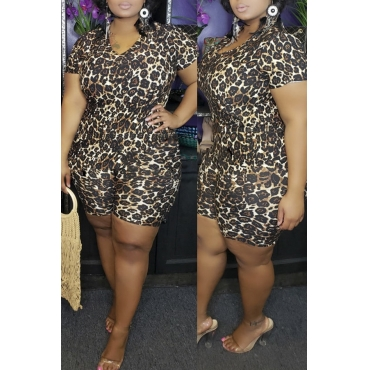 Lovely Casual Printed Black Plus Size Two-piece Shorts Set