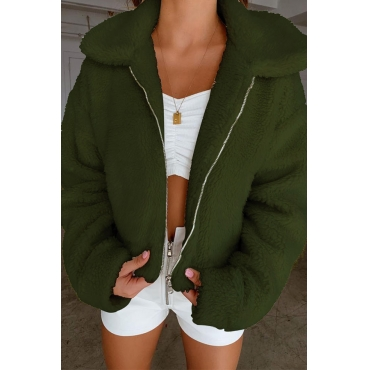 Lovely Casual Zipper Design Army Green Coat