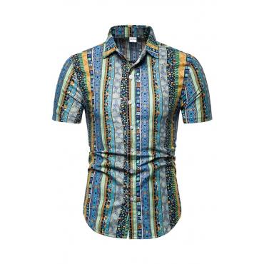 Lovely Ethnic Turndown Collar Printed Blue Shirt