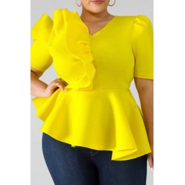 Lovely Casual V Neck Flounce Design Yellow Plus Size Blouse