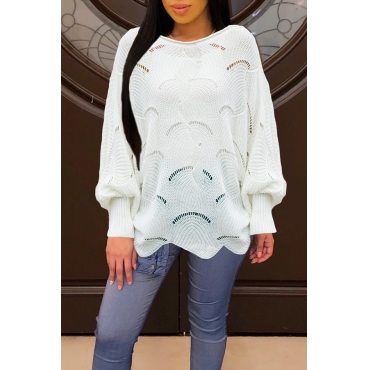 Lovely Work Hollow-out White Sweaters