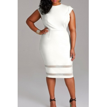Lovely Casual Patchwork White Knee Length Plus Size Dress