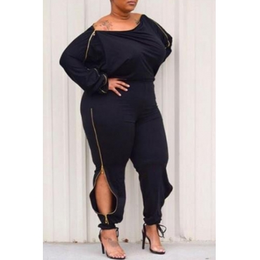 Lovely Casual Zipper Design Black Plus Size One-piece Jumpsuit