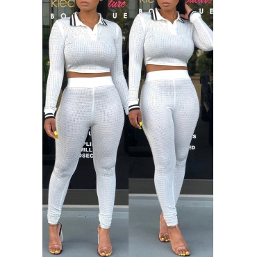 Lovely Casual Turndown Collar Hot Drilling Decorative White Two-piece Pants Set