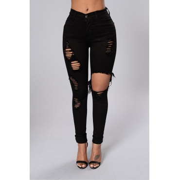Lovely Leisure Hollow-out Black Jeans