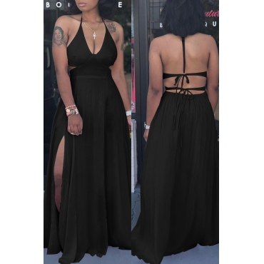 Lovely Trendy Spaghetti Straps Slit Black Floor Length Dress