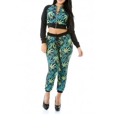 Lovely Casual Crop Top Printed Multicolor Two-piece Pants Set