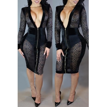Lovely Sexy Deep V Neck See-through Black Knee Length Dress(Without Lining)