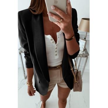 Lovely Casual Lapel Black Coat