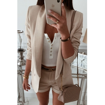Lovely Casual Lapel Apricot Coat