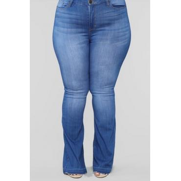 Lovely Trendy Zipper Design Deep Blue Plus Size Jeans