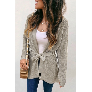Lovely Lace-up Khaki Cardigan