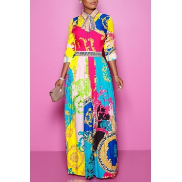 Lovely Sweet Turndown Collar Printed Multicolor Floor Length Dress