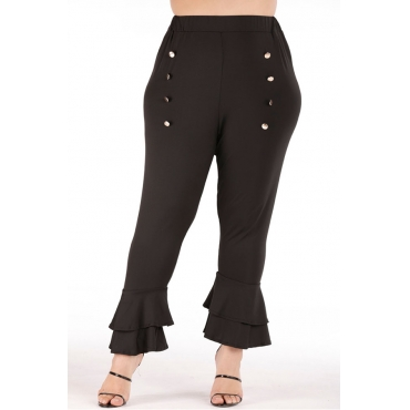 Lovely Casual Flounce Design Plus Size Pants