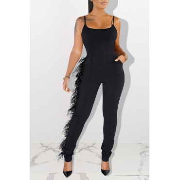 Lovely Trendy Tassel Design Black One-piece Jumpsuit