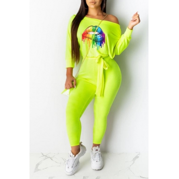 Lovely Casual Lip Printed Knot Design Green One-piece Jumpsuit