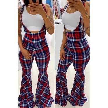 Lovely Casual Plaid Printed Multicolor One-piece Jumpsuit