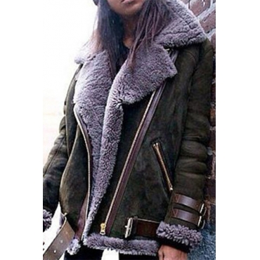 Lovely Casual Patchwork Army Green Coat