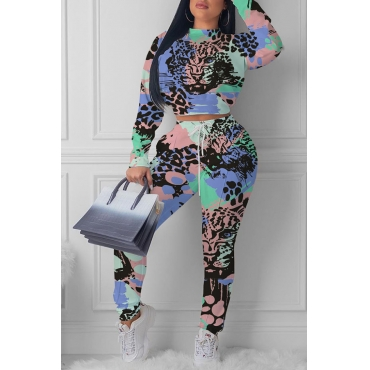 Lovely Casual Printed Deep Blue Two-piece Pants Set