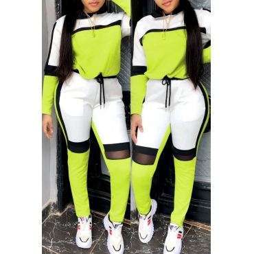 Lovely Sportswear Hooded Collar Patchwork Green Two-piece Pants Set