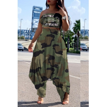 Lovely Trensy Camouflage Printed Army Green Two-piece Pants Set