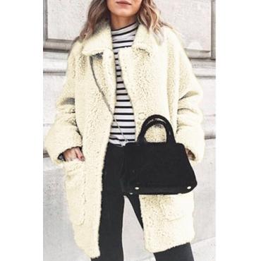 Lovely Trendy Pockets Design Creamy White Coat
