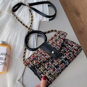 Lovely Retro Chain Strap Multicolor Crossbody Bag