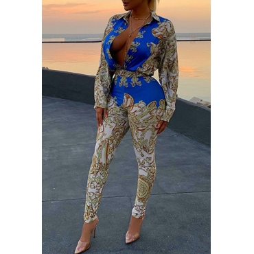 Lovely Chic Turndown Collar Printed Blue Two-piece Pants Set