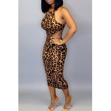 Lovely Sexy Leopard Printed Mid Calf Dress