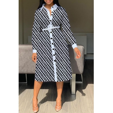 Lovely Casual Printed Black Mid Calf Shirt Dress