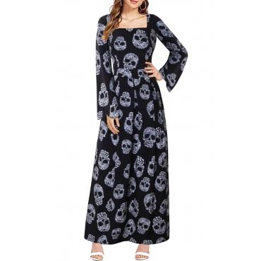 Lovely Leisure Printed Black Ankle Length Dress