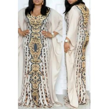 Lovely Temperament V Neck Printed Beige Floor Length Plus Size Dress