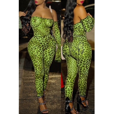 Lovely Sexy Leopard Printed Green One-piece Jumpsuit