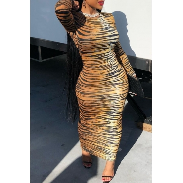 Lovely Casual O Neck Zebra Stripe Printed Ankle Length Dress
