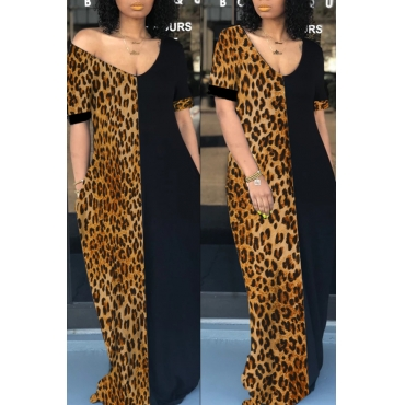 Lovely Casual Patchwork Leopard Printed Floor Length T-shirt Dress