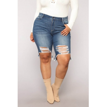 Lovely Trendy Broken Holes Blue Plus Size Shorts