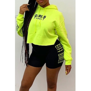 Lovely Casual Hooded Collar Letter Printed Grass Green Hoodie