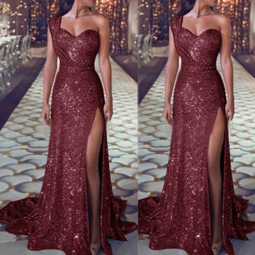 Lovely Party One Shoulder Red Floor Length Evening Dress