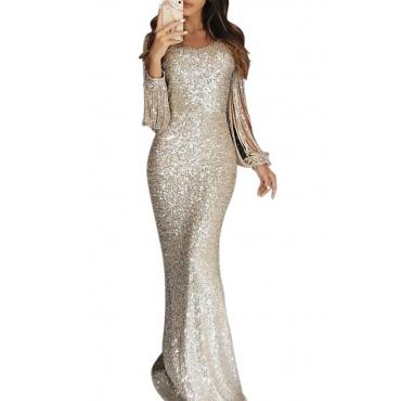 Lovely Party Tassel Design Silver Floor Length Evening Dress