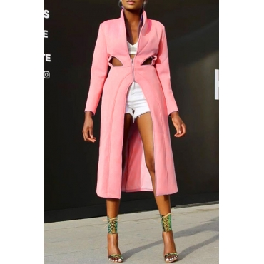 Lovely Casual Mandarin Collar Hollow-out Pink Coat